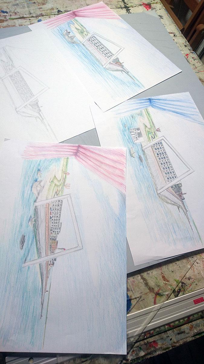 Schetsen en ideeën voor het schilderij.