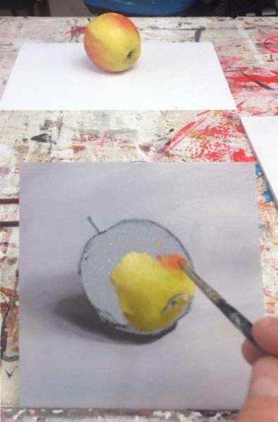 Nat in nat schilderen me olieverf bij Ombers & Okers