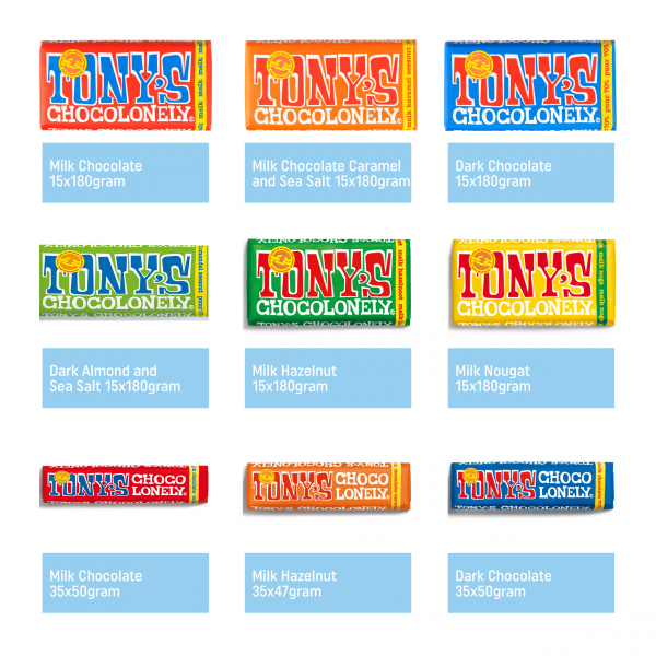 Tony's Chocolonely export assortment